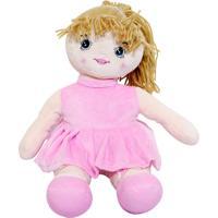 Boneca Minas De Presentes Sentada De Vestido Ponytail Tiara Princesa 27Cm Rosa