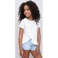 Blusa Infantil Estampada Poá Com Babado Manga Curta Off White
