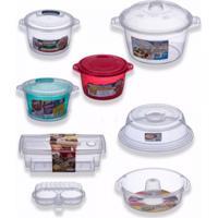 Kit 7 Panelas Cozinhar Sem Óleo + Tampa Para Microondas - Tricae