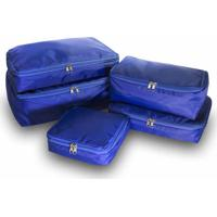Kit 5Pçs Organizador De Malas Vb Home Azul