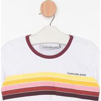 Blusa Cropped Listrada- Branca & Bordã´- Calvin Kleincalvin Klein