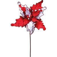 Flor Artificial Decoraã§Ã£O Natal 1 Unidade Poinsetia Vermelha - Vermelho - Dafiti