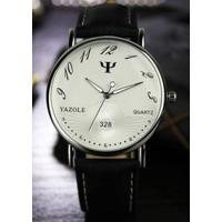 Relógio Feminino Yazole 328 - Preto Com Branco