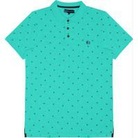 Camisa Polo Masculina Estampada Verde