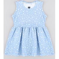 Vestido Infantil Estampado De Estrelas Sem Manga Azul Claro