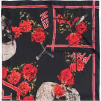 Philipp Plein Echarpe 'Roses' De Seda - Preto