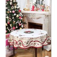 Toalha De Mesa Happy Christmas Redonda D180 6-8 Lugares - Bege/Vermelho - Dafiti