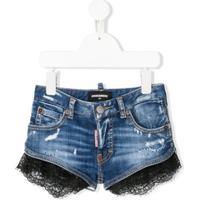 Dsquared2 Kids Lace Trim Denim Shorts - Azul