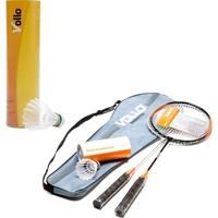 Kit De Badminton Vollo 2 Raquetes Com 9 Petecas Em Nylon - Unissex