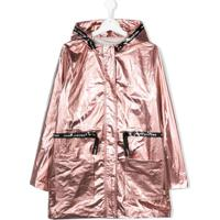 Little Marc Jacobs Teen Laminated Hooded Parka Coat - Rosa