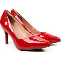 Scarpin Via Uno Salto Fino Alto Verniz - Feminino-Vermelho