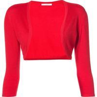 Oscar De La Renta Cropped Sleeve Bolero - Vermelho