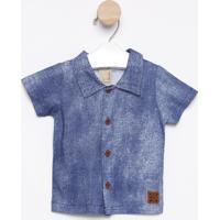 Camisa Com Botões & Tag - Azul Escurohrradinhos