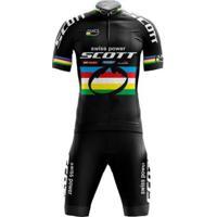 Kit Bermuda + Camisa Pro Tour Scott Swiss Power - Unissex-Preto