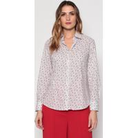 Camisa Floral Em Algodão Egípcio - Off White & Vermelhadudalina