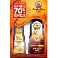 Protetor Solar Australian Gold Fps 30 Spray Gel 237Ml + Ganhe 70% Desconto No Bronzeador Accelerator Clear Spray 125G