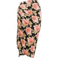 Paco Rabanne Rose Print Wrap Dress - Preto