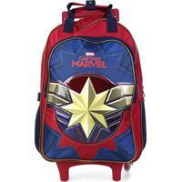 Mochila Escolar Dmw Captain Marvel C/ Rodinhas - Feminino-Vermelho+Azul
