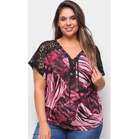 Blusa Heli Plus Size Rendada Estampada Feminina - Feminino-Rosa
