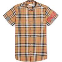 Burberry Kids Camisa Xadrez Mangas Curtas - Amarelo