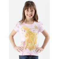 Blusa Infantil Estampa Aurora Manga Curta Disney