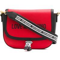 Love Moschino Logo Print Stripe Detail Shoulder Bag - Vermelho