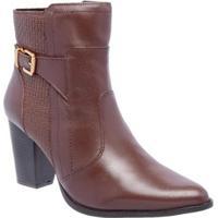 Bota Couro D&R Shoes Feminina - Feminino-Marrom