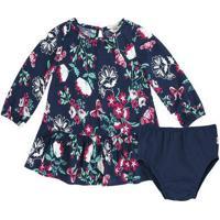 Vestido Infantil Bebê Menina Com Mangas Longas Acompanha Calcinha Puc