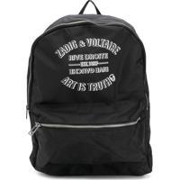 Zadig & Voltaire Kids Mochila Com Estampa De Logo - Preto