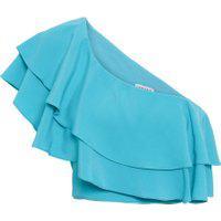 Blusa Feminina Cropped Ombro Só - Azul