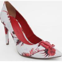 Scarpin Floral - Bege Claro & Vermelho - Lanã§A Perfulanã§A Perfume