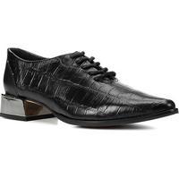 Oxford Couro Shoestock Bico Fino Salto Cromado Feminino - Feminino-Preto
