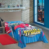 Manta Fleece Solteiro Estampada Liga Da Justiça 1,50 M X 2,20 M Com 1 Peça - Produto Importado Lepper Azul