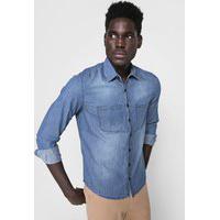 Camisa Jeans Polo Wear Reta Listrada Azul