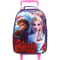 Mochila De Rodinhas Escolar Frozen 2 | Cor: Azul