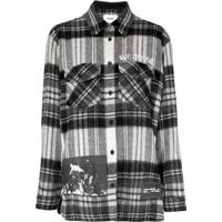 We11Done Camisa Flanelada Com Estampa Xadrez - Branco