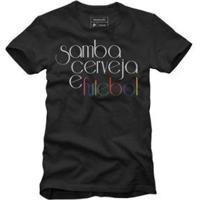 Camiseta Reserva Samba Cerveja E Futebol - Masculino-Preto