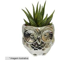 Cachepot Little Owl- Prateado- 12X12,5X12,5Cm- Uurban