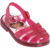 Sandália Infantil Vermelha Com Glitter E Luzinha