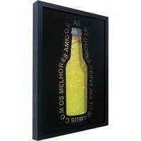 Quadro Porta Tampinhas Melhores Cervejas Preto 27X37Cm