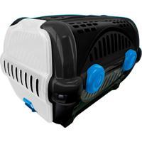 Caixa De Transporte Para Pets Luxo 40X36,5Cm Preta E Azul