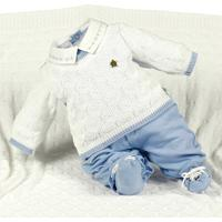 Saída De Maternidade Beth Bebê Tricô Plush Henry Azul Claro