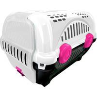 Caixa De Transporte Para Pets Luxo 40X36,5Cm Branca E Rosa