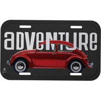Placa De Carro Fusca®- Vermelha & Preta- 30X15Cmurban