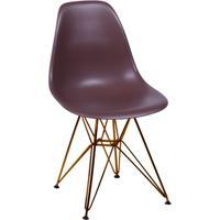 Cadeira Eames Eiffel Com Base Metal Café