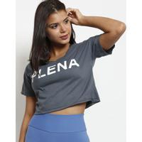 """Blusa Cropped """"Plena""""- Cinza & Branca- Patrapatra"""