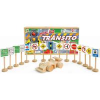 Mini Kit De Transito Com 14 Placas 1 Sem Aforo E 1 Carrinho De Madeira - Kanui