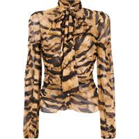 Dolce & Gabbana Blusa De Seda Animal Print - Marrom