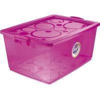 Caixa Organizadora Com Trava- Pink- 30,5X63X41Cmordene