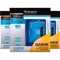 Kit 3 Neutrogena Protetor Facial Sunfresh Fps 60 50G Grátis 25 Lenço Demaquilante